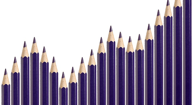 Business graph illustrating growth made up of blue pencils